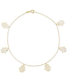 Hamsa Ankle Bracelet in 10k Gold