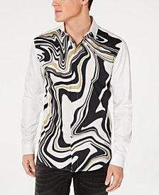 Just Cavalli Men's Woven Psychedelic Shirt