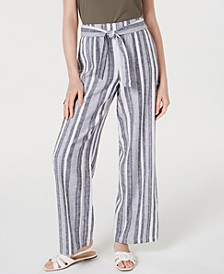 INC Tie Waist Linen-Blend Wide-Leg Pants, Created for Macy's