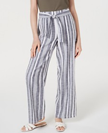 I.N.C. Petite Tie Waist Wide-Leg Pants, Created for Macy's