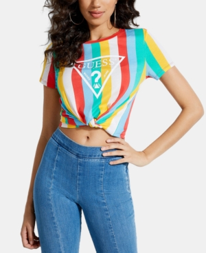 62c212832d Guess Rainbow-Stripe Twist-Hem T-Shirt In Coastal Rainbow Print Vertical