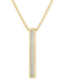 "Esquire Men's Jewelry Diamond 22"" Pendant Necklace (1/4 ct. t.w.) in 14k Gold Over Sterling Silver"