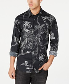 Just Cavalli Men's Woven Chains Graphic Long Sleeve Shirt
