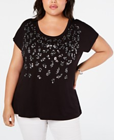 I.N.C. Plus Size Sequin Leopard T-Shirt, Created for Macy's