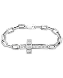 Men's Diamond Cross Bracelet (1/2 ct. t.w.) in Sterling Silver