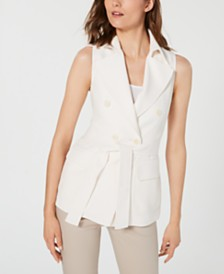 Anne Klein Double-Breasted Tie-Waist Sleeveless Jacket