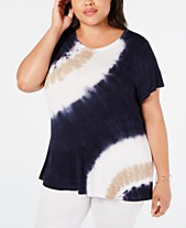 3e8ed3372 I.N.C. Plus Size Sequin-Trim Tie-Dye T-Shirt, Created for Macy's