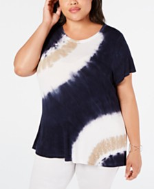 I.N.C. Plus Size Sequin-Trim Tie-Dye T-Shirt, Created for Macy's