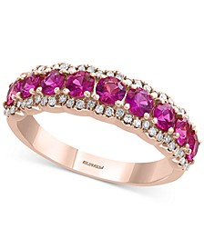 EFFY® Certified Ruby (1-1/4 ct. t.w.) & Diamond (1/4 ct. t.w.) Ring in 14k Rose Gold