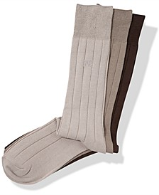 Men's 3-Pk. Rayon Ribbed Dress Socks