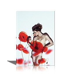 Red Poppy Girl Framed Canvas Wall Art