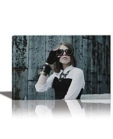 Goggle Girl Framed Canvas Wall Art