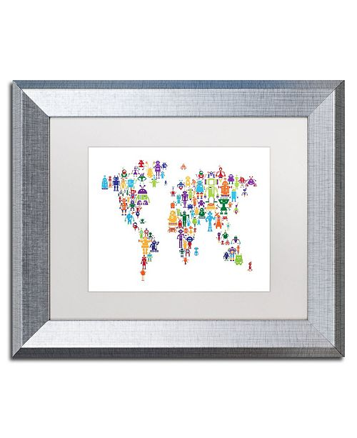 "Trademark Global Michael Tompsett 'Robot Map of the World' Matted Framed Art - 11"" x 14"""