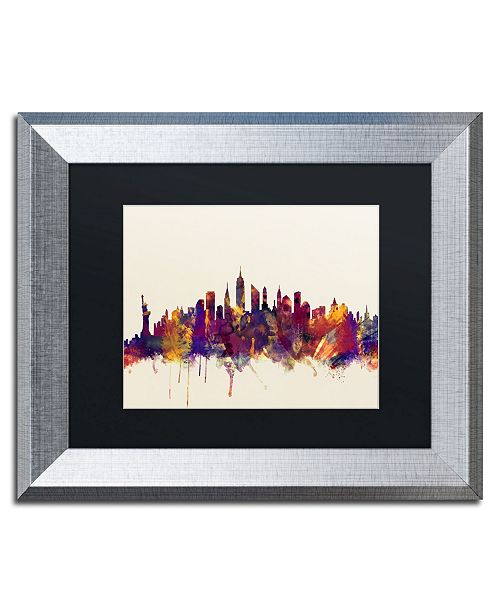 "Trademark Global Michael Tompsett 'New York City Skyline' Matted Framed Art - 11"" x 14"""