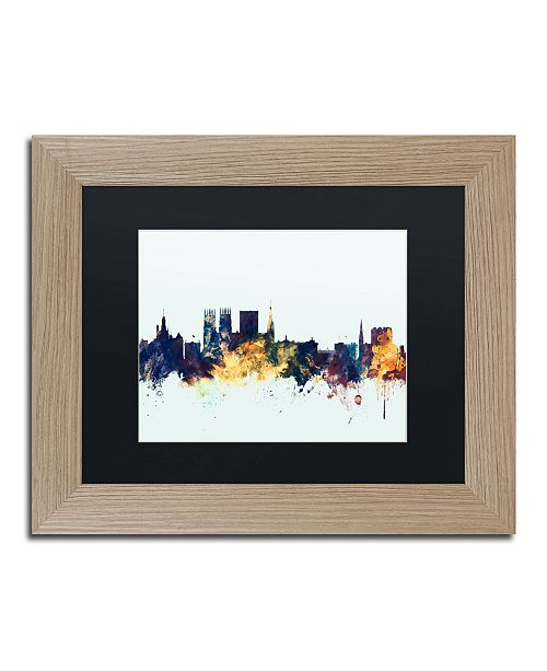 "Trademark Global Michael Tompsett 'York England Skyline Blue' Matted Framed Art - 11"" x 14"""