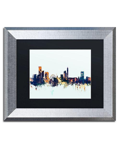 """Trademark Global Michael Tompsett 'Birmingham Skyline Blue' Matted Framed Art - 11"""" x 14"""""""