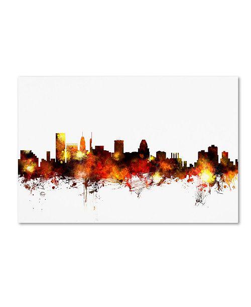 "Trademark Global Michael Tompsett 'Baltimore Maryland Skyline Red' Canvas Art - 12"" x 19"""