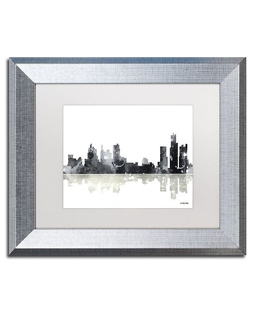 "Trademark Global Marlene Watson 'Boston Mass Skyline BG-1' Matted Framed Art - 11"" x 14"""