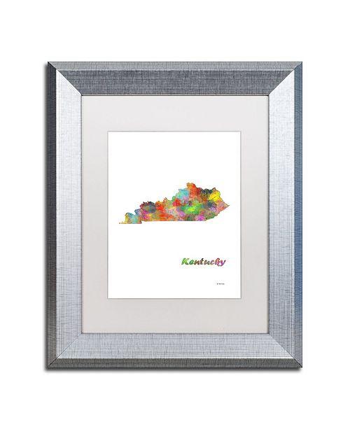 """Trademark Global Marlene Watson 'Kentucky State Map-1' Matted Framed Art - 11"""" x 14"""""""