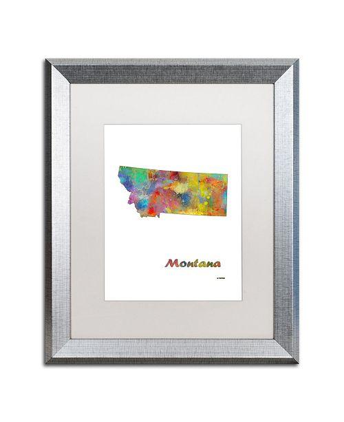 "Trademark Global Marlene Watson 'Montana State Map-1' Matted Framed Art - 16"" x 20"""