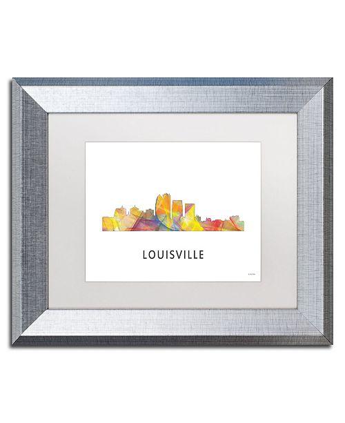 "Trademark Global Marlene Watson 'Louisville Kentucky Skyline WB-1' Matted Framed Art - 11"" x 14"""