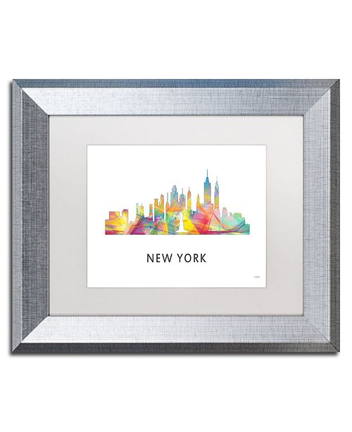 "Trademark Global Marlene Watson 'New York New York Skyline WB-1' Matted Framed Art - 11"" x 14"""