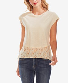 Vince Camuto Floral-Print Mixed-Media Top