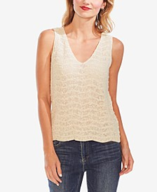 Wave-Stitched Sweater Top