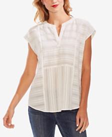 Vince Camuto Cotton Textured Split-Neck Top