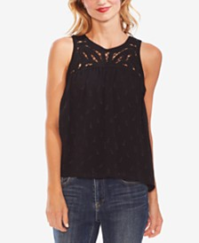 Vince Camuto Embroidered Lattice Top