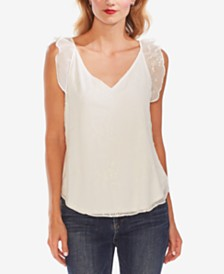 Vince Camuto Embroidered Flutter-Sleeve Top