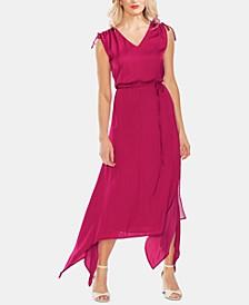 Drawstring-Shoulder Handkerchief-Hem Maxi Dress