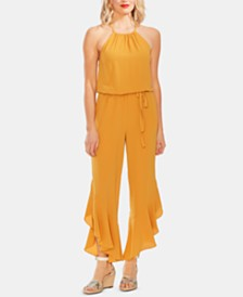 Vince Camuto Cinched-Waist Ruffled-Hem Jumpsuit