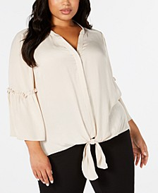 Plus Size Tie-Hem Lantern-Sleeve Top, Created for Macy's