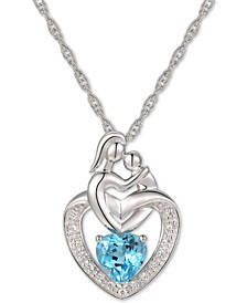 """Blue Topaz (1 ct. t.w.) & Diamond Accent Mother and Child 18"""" Pendant Necklace in 14k White Gold"""