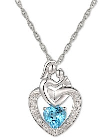 "Blue Topaz (1 ct. t.w.) & Diamond Accent Mother and Child 18"" Pendant Necklace in 14k White Gold"