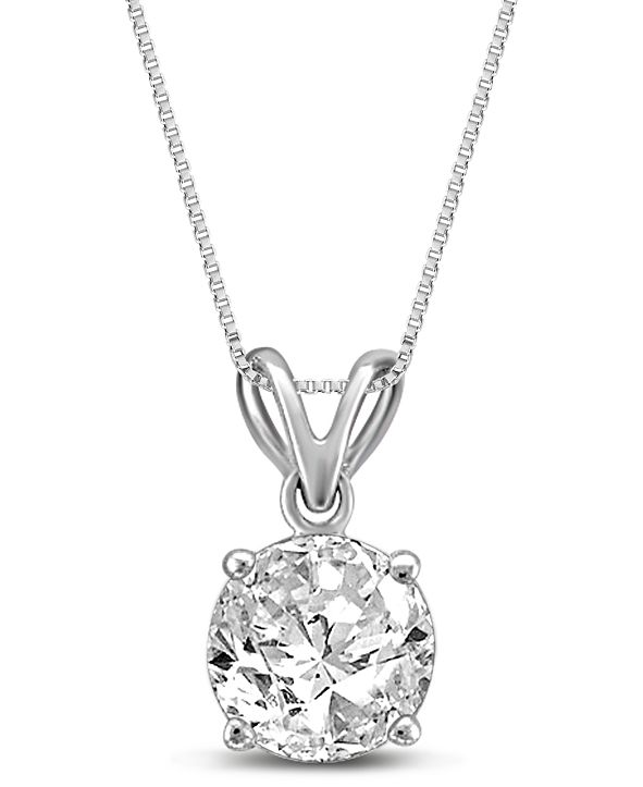 "Macy's Diamond 18"" Pendant Necklace (3/4 ct. t.w.) in 14k White Gold"