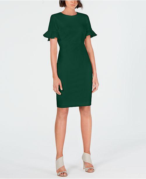 02062697 Calvin Klein Flutter-Sleeve Sheath Dress & Reviews - Dresses - Women ...