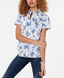Tommy Hilfiger Printed Cotton Button-Down Shirt, Created for Macy's