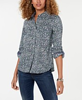 95409fe38 Tommy Hilfiger Cotton Printed Button-Down Shirt, Created for Macy's
