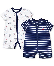 Little Me Baby Boys 2-Pk. Nautical Cotton Rompers