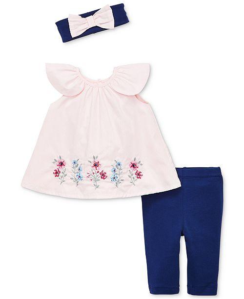 Little Me Baby Girls 3-Pc. Wildflower Tunic, Leggings & Headband Set