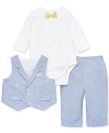 Little Me Baby Boys 3-Pc. Cotton Bodysuit, Vest & Pants Set