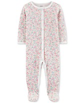 f5453b56 Carter's Baby Girls Floral-Print Cotton Footed Coverall