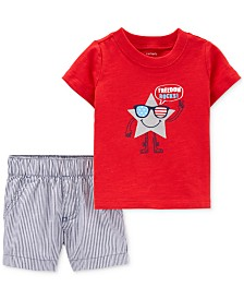 Carter's Baby Boys 2-Pc. Cotton Freedom-Print T-Shirt & Shorts Set