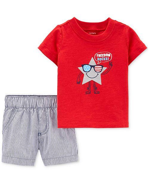 Carter's Baby Boys 2-Pc. Cotton Freedom-Print T-Shirt & Shorts Set