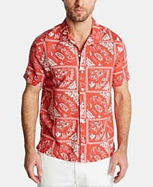 Men's Blue Sail Classic Fit Island Print Camp Collar Linen Shirt, Created for Macy's