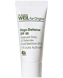 Receive a Free Dr. Weil Mega-Defense SPF 45 Advance Daily UV Defender, 5ml with any $35 Origins purchased