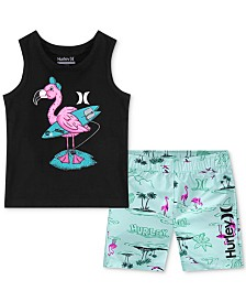 Hurley Toddler Boys 2-Pc. Graphic-Print Tank Top & Board Shorts