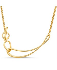 Women's Polished Curved Bar Gold-Tone Toggle Chain Necklace